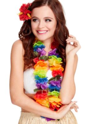 Havaju ziedu virtene, varavīksnes krāsās
