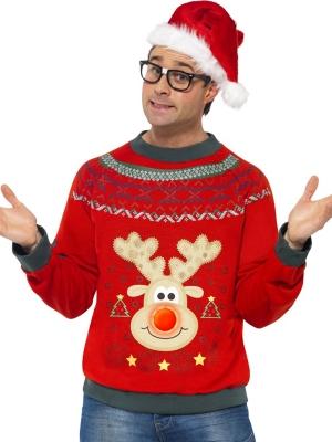 Ziemassvētku džemperis ar izšuvumiem un led gaismām