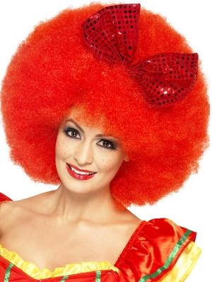 Klauna afro parūka, sarkana