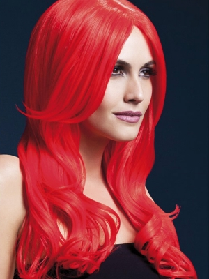 Parūka Hloja, neona sarkana, 66 cm