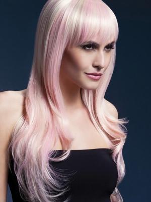 Parūka Sīna, blonda ar rozā, 66 cm