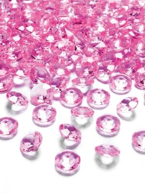 100 gab, Dimantu konfeti, rozā, 12 mm,
