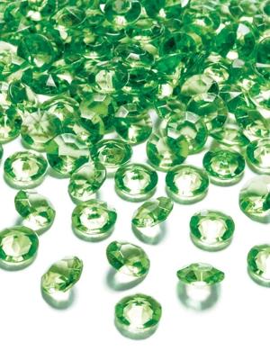 100 gab, Dimantu konfeti, gaiši zaļš, 12 mm