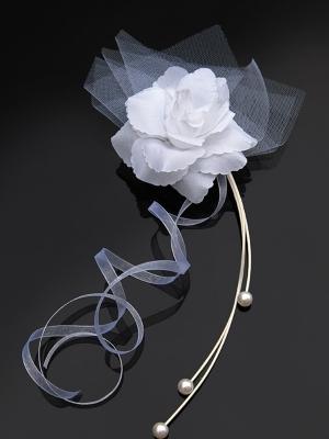 4 gab, Pušķis ar rozi, balts, 25 cm