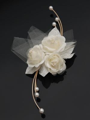 4 gab, Pušķis ar rozi, krēmkrāsa, 25 cm
