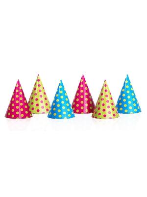6 gab, Papīra cepures ar punktiņiem, 10 х 16 cm