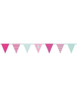 Papīra virtene 1 Dzimšanas diena, rozā, 18 x 135 cm