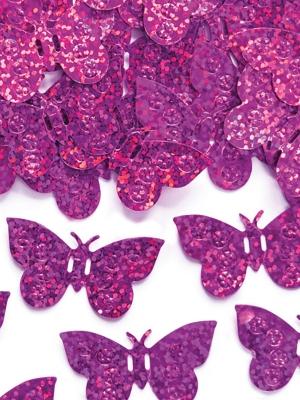 Hologrāfisks konfeti taurenīši, rozā, 15 gr