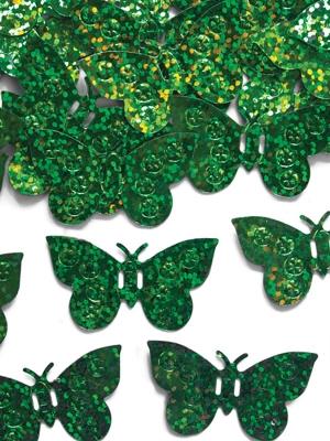 Hologrāfisks konfeti taurenīši,zaļi, 15 g