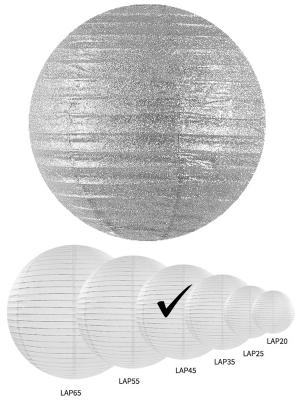Laterna ar gliteriem, sudraba, 45 cm