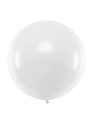 1 metra balons, balts, pastelis