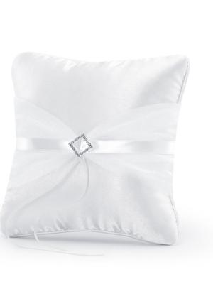 Gredzenu spilvens, balts, 20 x 20 cm