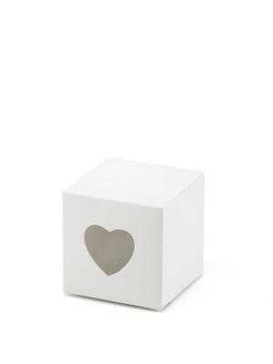 10 gab, Kastītes ar sirdim, baltas, 5 x 5 x 5 cm