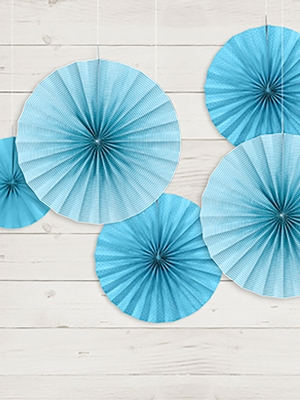 3 gab, Dekoratīvās rozetes, zilas, 40, 32, 23 cm