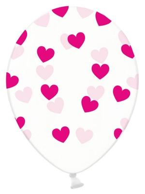 Balons Sirsniņas, caurspīdīgs ar fuksiju, 30 cm