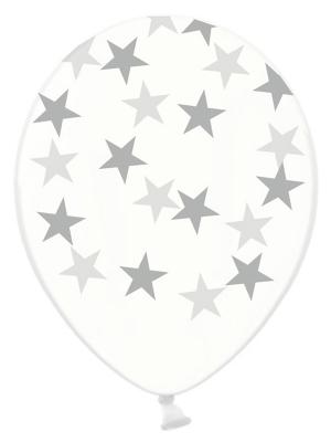 Balons Zvaigznes, caurspīdīgs ar sudrabu, 30 cm