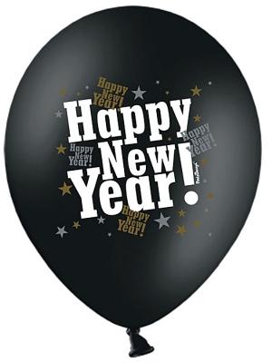 6 gab, Baloni Happy New Year, melni metāliski, 30 cm