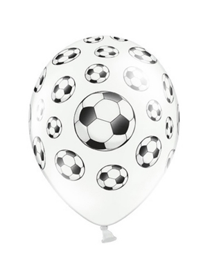 6 gab, Baloni Futbola bumba, balti ar melnu, 30 cm