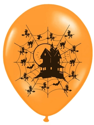 6 gab, Baloni Spoku māja, oranži ar melnu, 30 cm