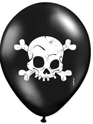 6 gab, Baloni Galvaskauss, melni ar baltu, 30 cm
