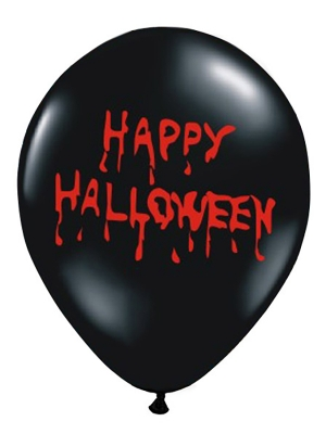 Balons Happy Halloween, melns ar sarkanu, 30 cm