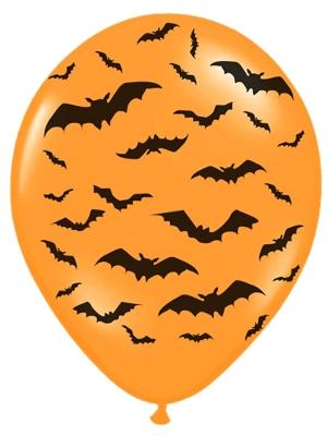 6 gab, Baloni Sikspārnis, oranži ar melnu, 30 cm