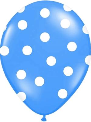 Punktots balons, zils ar baltu, 30 cm