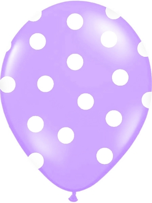 Punktots balons, lavandas zils ar baltu, 30 cm