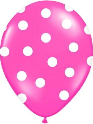 Punktots balons, rozā ar baltu, 30 cm