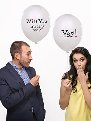 6 gab, Baloni Will you marry me, balti, 30 cm