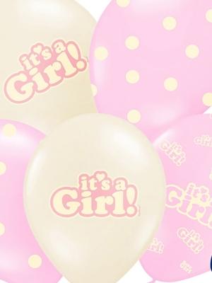 6 gab, Baloni Its a Girl, rozā un beša, 30 cm