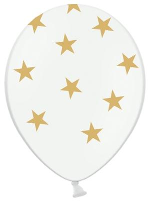 Balons Zvaigznes, balts ar zelta, 30 cm