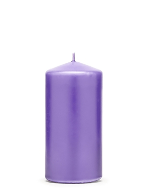 Cilindra svece, matēta, viršu zila, 12 cm x 6 cm