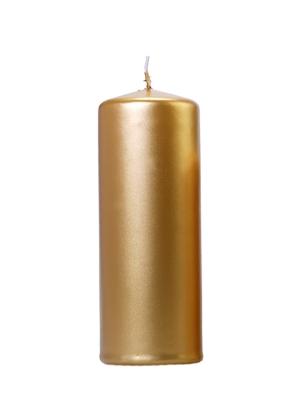 Cilindra svece, glancēta, zelta, 15 cm x 6 cm