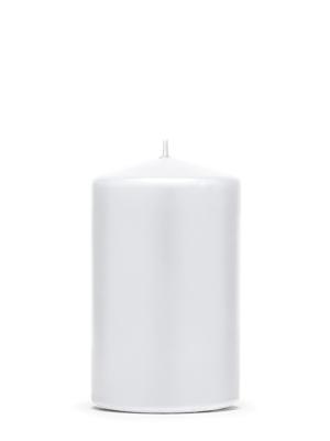 Cilindra svece, matēta, balta, 10 cm x 6.5 cm
