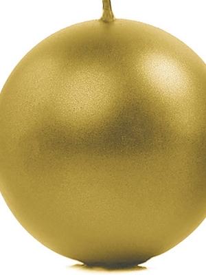 Apaļa svece, glancēta,zelta, 10 cm