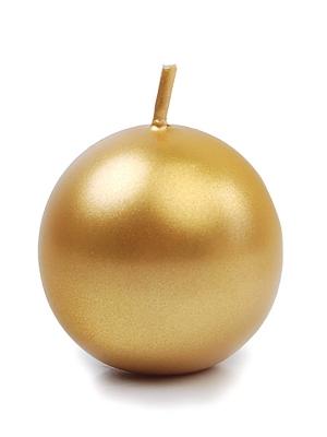 Apaļa svece, glancēta, zelta, 4,5 cm