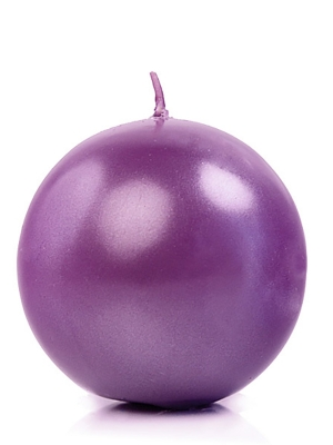 Apaļa svece, glancēta, violeta, 6 cm