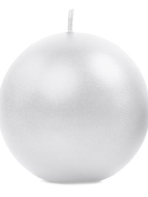 Apaļas svece, glancēta, pērļu, 8 cm