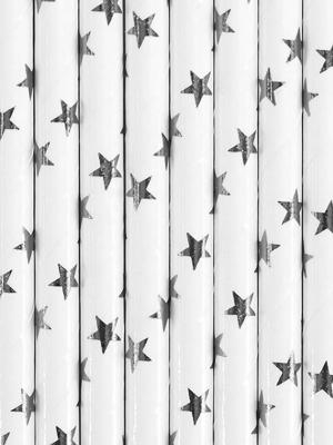 10 gab,  Salmiņi balti, sudraba zvaigznes, 19.5 cm