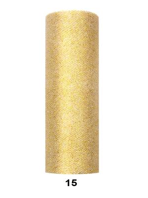Tills ar gliteriem, zelta, 0.15 x 9 m