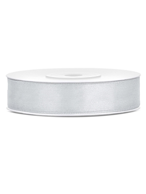 Satīna lente, sudraba, 12 mm x 25 m