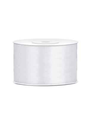 Satīna lente, balta, 38 mm x 25 m