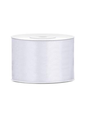Satīna lente, balta, 50 mm x 25 m