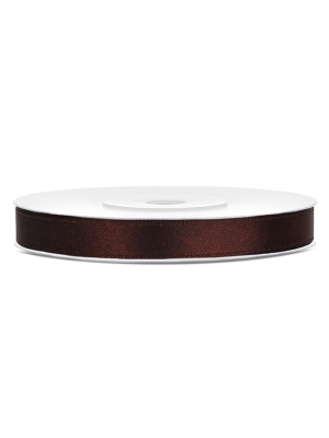 Satīna lente, brūna, 6 mm x 25 m