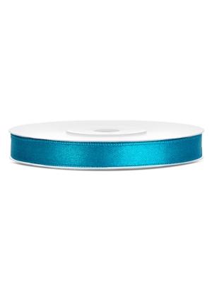 Satīna lente, tirkīza, 6 mm x 25 m