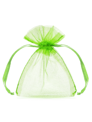 20 gab, Organzas maisiņi, zaļo ābolu, 7.5 x 10 cm