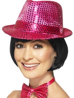 Cepure ar fliteriem, rozā
