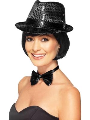 Cepure ar fliteriem, melna