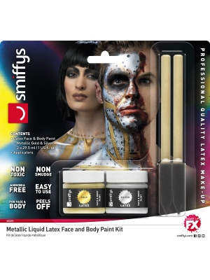 Lateksa Make-Up komplekts, zelta, sudraba